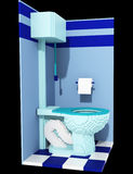 3d voxel latrine. 3d image of a toilet cabin made in retro voxel style, isolated on black background Royalty Free Stock Image