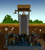 3d voxel rustic well. 3d image of a rustic well standing in the grass among flowers. It is made of stone and wood and has a bucket on a rope and a handle to move Royalty Free Stock Images