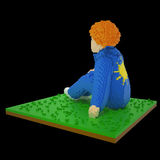 3d voxel sitting boy. 3d image of a redhead boy sitting on grass. He is wearing jeans costume with a sun pattern on the jacket. Made in retro voxel style,  on Stock Photography