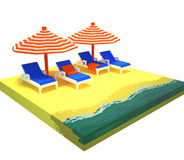 3d voxel summer beach scene. 3d image of a summer vacation scene on the sea shore Stock Photos