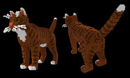3d voxel tabby cat. 3d image of tabby cat with green eyes and white spots. Front and back view. Made in retro voxel style, isolated on black background Royalty Free Stock Image