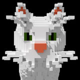 3d voxel white cat face Stock Photo