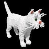 3d voxel witte kat Stock Foto's