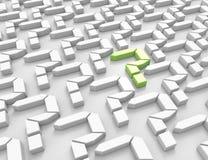 3d vraagtekens één green Royalty-vrije Stock Afbeelding