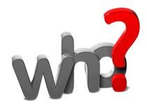 3D Vraagword Who op witte achtergrond Royalty-vrije Stock Afbeelding