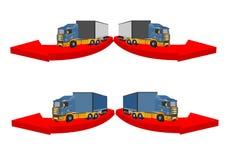 3D vrachtwagens, vectorconceptontwerp vector illustratie