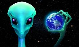 3d vreemdeling met aarde Stock Illustratie