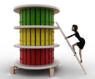 3d vrouw beklimt ladder aan hoogste dossiersconcept Stock Afbeeldingen
