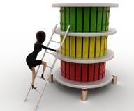 3d vrouw beklimt ladder aan hoogste dossiersconcept Stock Fotografie
