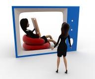 3d vrouw die op een andere vrouw op TV-het concept van het lezingsboek letten Stock Fotografie