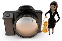 3d vrouw met cameraconcept Stock Fotografie