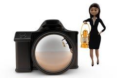 3d vrouw met cameraconcept Stock Foto's