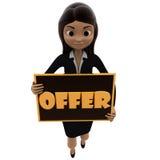 3d vrouw met in hand concept van het aanbiedingsteken Stock Fotografie