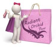 3d vrouw met reuze stralende orchidee het winkelen zak Stock Fotografie