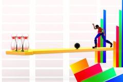 3d Vrouwen die bal werpen in kegelsillustratie Royalty-vrije Stock Afbeeldingen