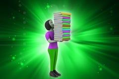 3d vrouwen die boek, onderwijsconcept houden Stock Fotografie