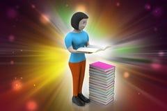 3d vrouwen die boek, onderwijsconcept lezen Stock Fotografie