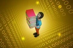 3d vrouwen die boek, onderwijsconcept lezen Stock Foto