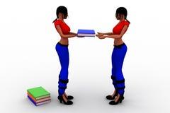 3d vrouwen dragen boeken Stock Fotografie