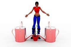 3d vrouwen het tuinieren installatie Royalty-vrije Stock Afbeeldingen