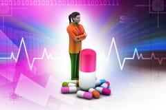 3d vrouwen met geneesmiddelen Royalty-vrije Stock Afbeeldingen