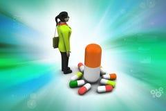 3d vrouwen met geneesmiddelen Stock Foto