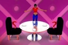 3d Vrouwen zitten muisinstallatie voor - Isometrische bureauobjecten illustratie Stock Foto