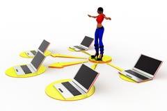 3d vrouwenlaptop Netwerkillustratie Royalty-vrije Stock Afbeelding