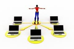 3d vrouwenlaptop Netwerkillustratie Royalty-vrije Stock Foto's