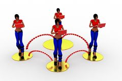 3d Vrouwenlaptop Overdracht van Wifi Royalty-vrije Stock Afbeelding