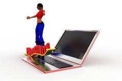 3d vrouwenlaptop productiviteit Stock Foto's