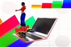 3d vrouwenlaptop productiviteit Stock Afbeeldingen