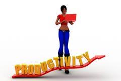 3d vrouwenproductiviteit Stock Foto's