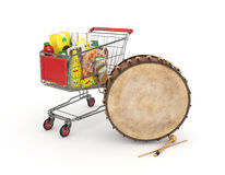 3d wózek na zakupy i Ramadan bęben Obrazy Stock