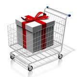 3d wózek na zakupy z prezentów pudełkami Zdjęcia Royalty Free