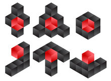 3d Würfel Logo Icon Design Set, Vektor-Illustration Stockfotos