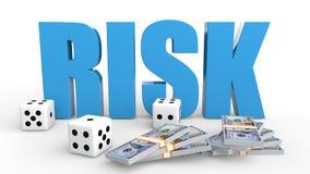 3d würfelt und Geldrisiko Stockbilder