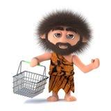3d Wściekle atakować caveman iść robić zakupy z jego koszem Obrazy Royalty Free