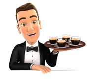 3d waiter holding four cups of coffee Stock Photography