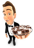 3d waiter holding plate with various chocolates. White background Stock Image