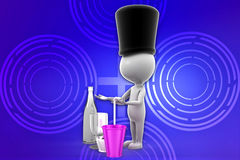 3d Waiter illustration Royalty Free Stock Photography