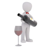 3d waiter pouring red wine into a stemmed glass Royalty Free Stock Photography