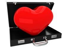 3D walizka z czerwonym sercem Zdjęcia Royalty Free