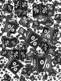 3d Wall of black percent dice Stock Images