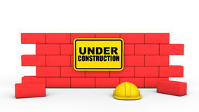 3d wall with under construction sign board Royalty Free Stock Photography