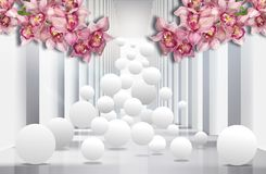 3D wallpaper, architecture tunnel with pink orchids and spheres. royalty free illustration