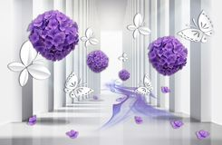3D wallpaper, architecture tunnel with purple hydrangea flowers and butterflies. stock illustration