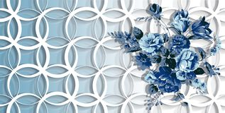 3d wallpaper, blue flowers on rings background vector illustration