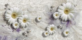 3d wallpaper, chamomiles and pearls on marble background
