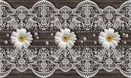 3d wallpaper, chamomiles, pears and white ornamental lace on wooden background. Classic Provence Style stock photos